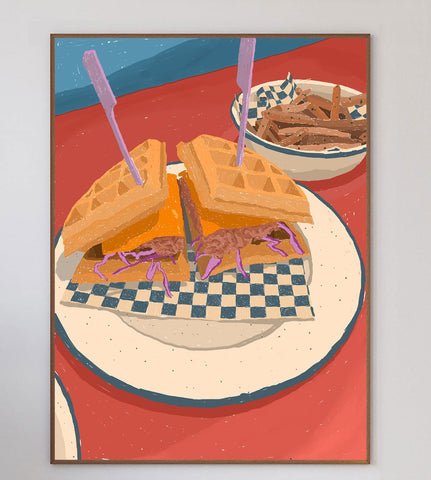 Chicken Waffle Burger Limited Art Print