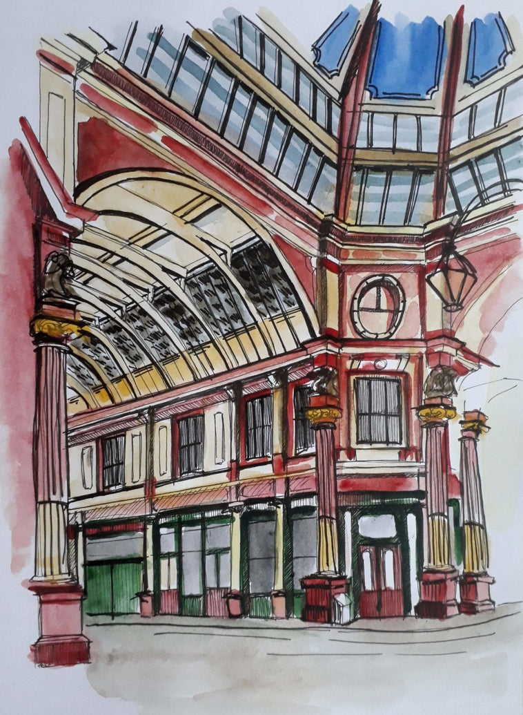 London Leadenhall Market Art Print - Printed Originals
