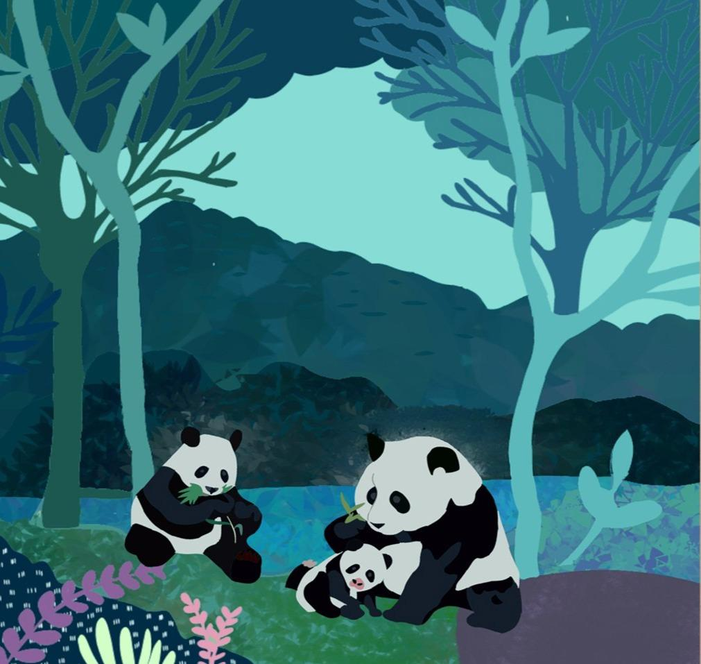 Pandas In The Evening Limited Art Print - Printed Originals