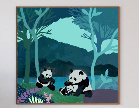 Pandas In The Evening Limited Art Print