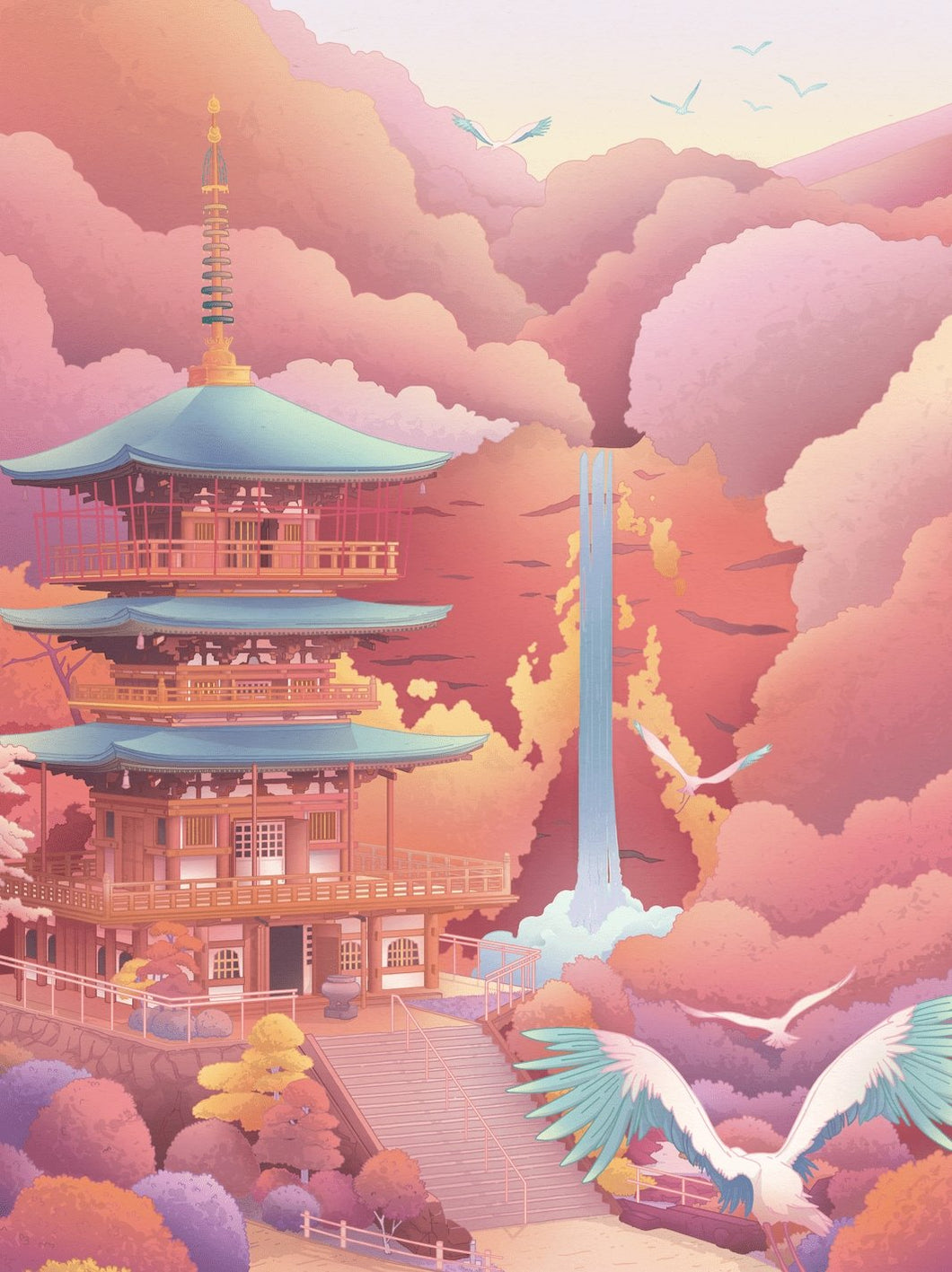 Seigantoji Three-Story Pagoda Art Print - Printed Originals