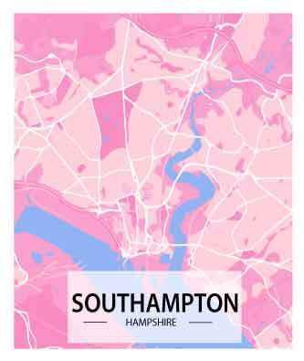Southampton Map Art Print - Printed Originals