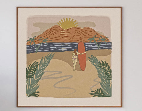Sunset Surf Limited Art Print