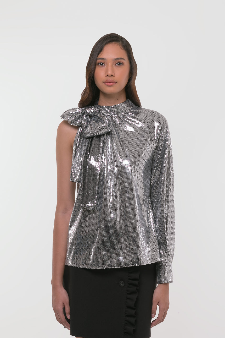 MSGM Sequined Open Shoulder Blouse