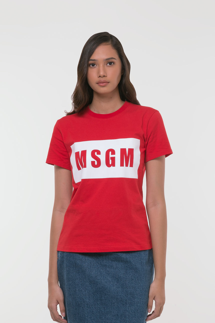 MSGM Logo Print Red T-Shirt