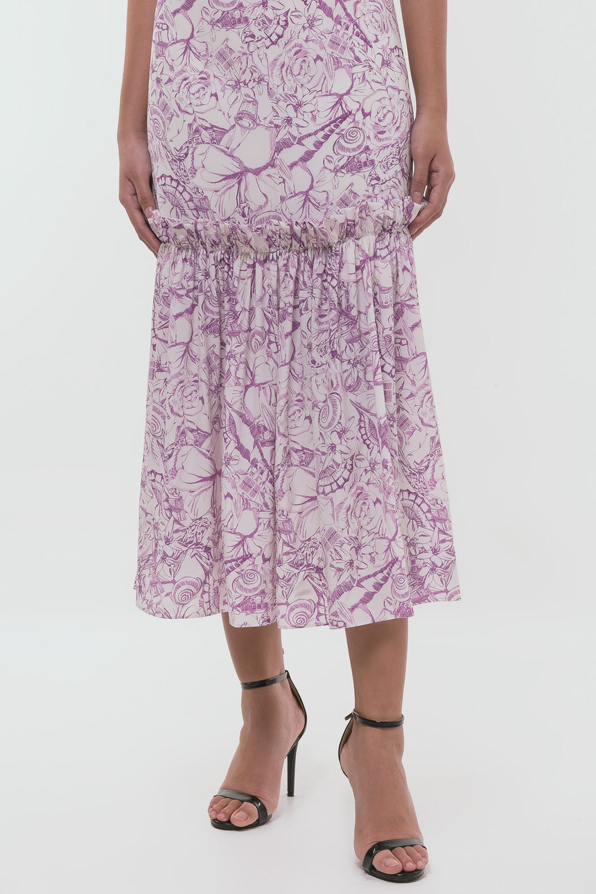 Tibi Isa Toile Tie-Neck Silk Dress