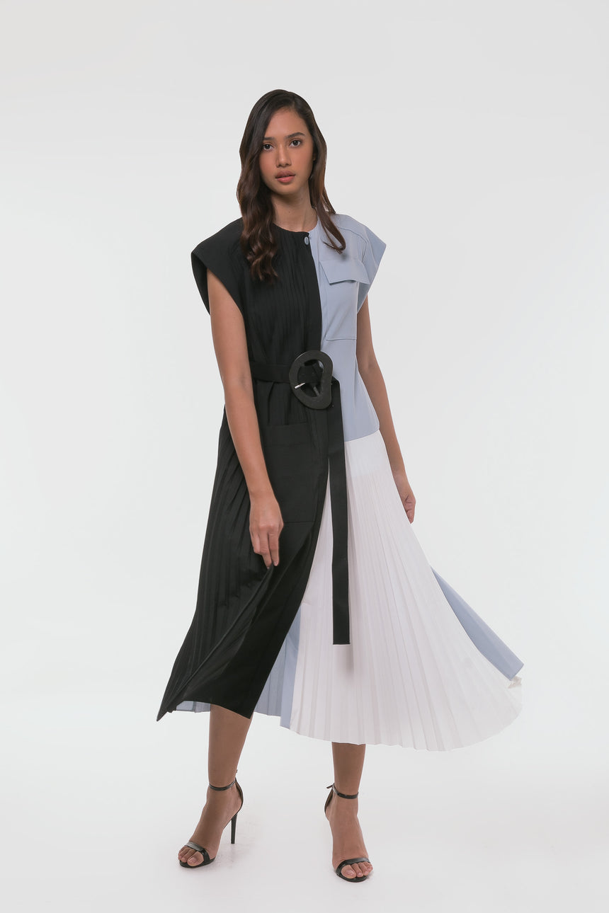Tibi Edith Pleating Yolked Pleated Dress