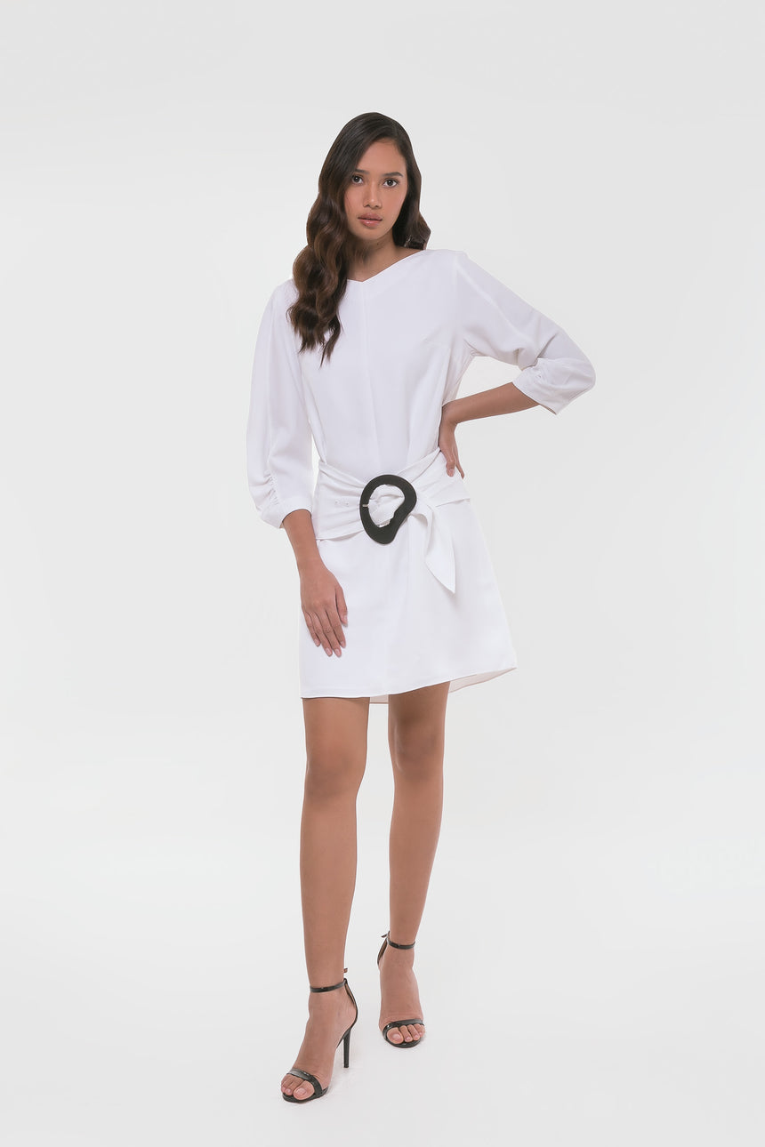 Tibi Drape Twill Shirred Sleeve Dress with Removable Belt