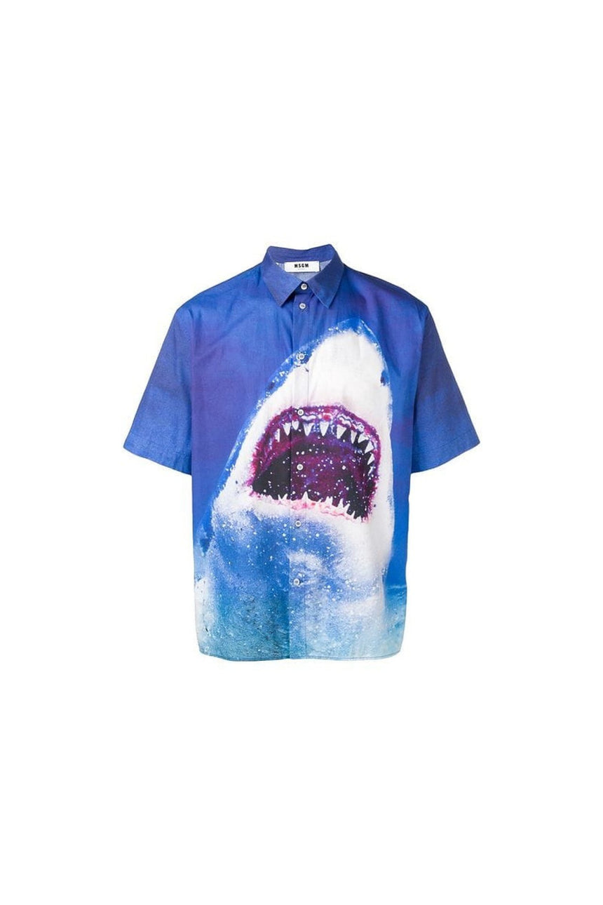 MSGM Shark Print Collared Shirt