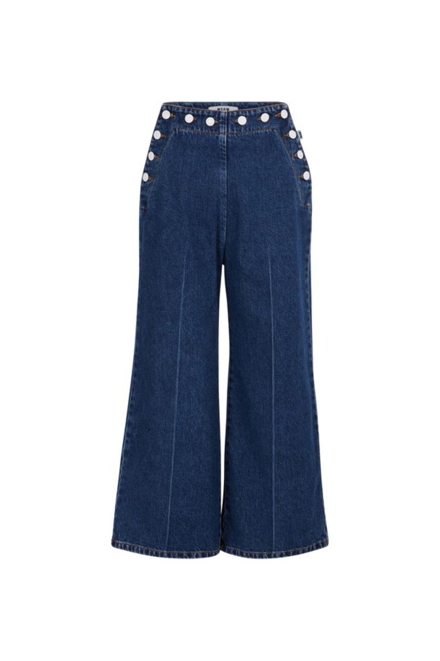MSGM Wide Leg Denim Pants