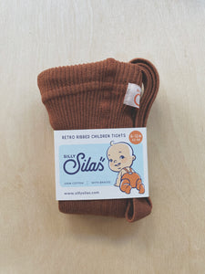SILLY SILAS - FOOTED COTTON TIGHTS - CINNAMON