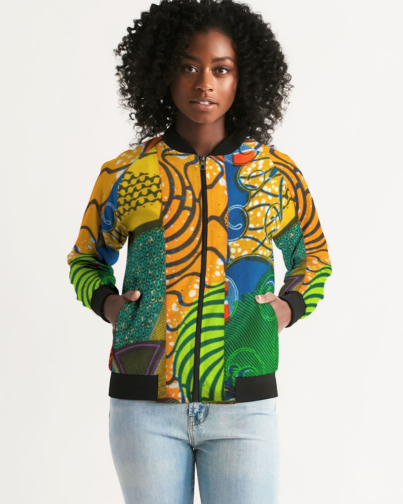 African Print Fabric Women's Bomber Jacket