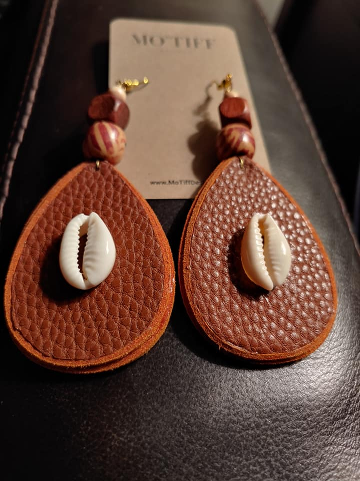 Leather Teardrop Earring Mo'Tiff