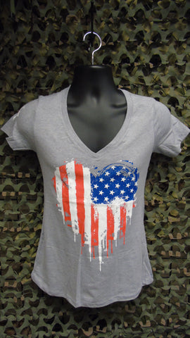 BFV Ladies Flag Heart V-Neck