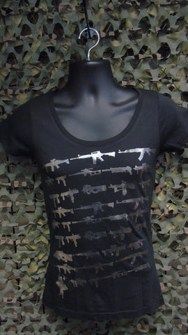BFV Ladies Foil Repeating Gun V-Neck