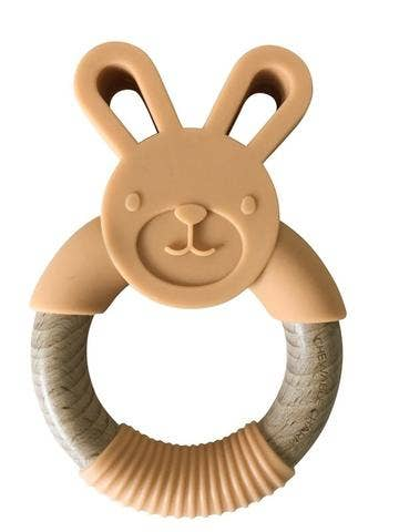 Bunny Silicone + Wood Teether - Apricot