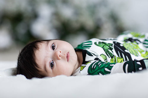 Palm Leaves Bamboo Newborn Gown and Hat Set