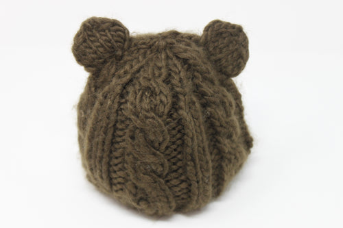 Julian Cable Bear Knit Hat - Brown