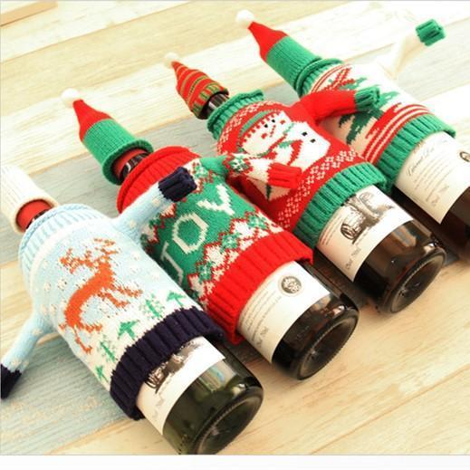 Christmas Wine Knitting Sweater Bottle Cover – funncoo
