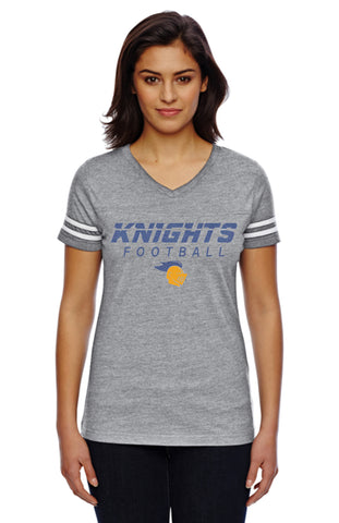 Women's Football V-Neck Fine Jersey Tee-k