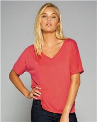 Ladies' Flowy V-Neck Drop-Sleeve Tee-bbf