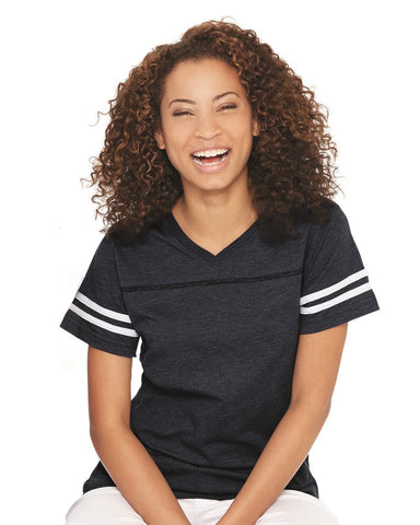 Women's Football V-Neck Fine Jersey Tee-OTSC