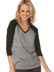 Women Sheer Jersey Cntrst V Neck Raglan 3/4 Sleeve-DLL
