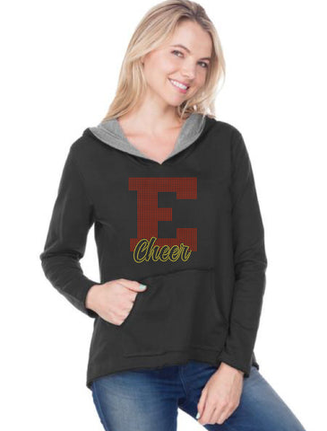 Women/Juniors French Terry Raw Edge High-Low Long Sleeve Lined Hoodie-EJ