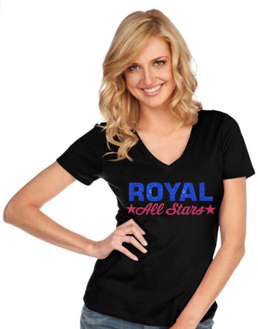 Women & Juniors Jersey Deep V Neck Short Sleeve-royal