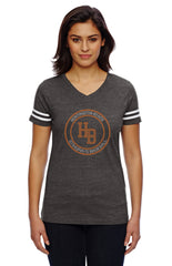 Women's Football V-Neck Fine Jersey Tee-HBS