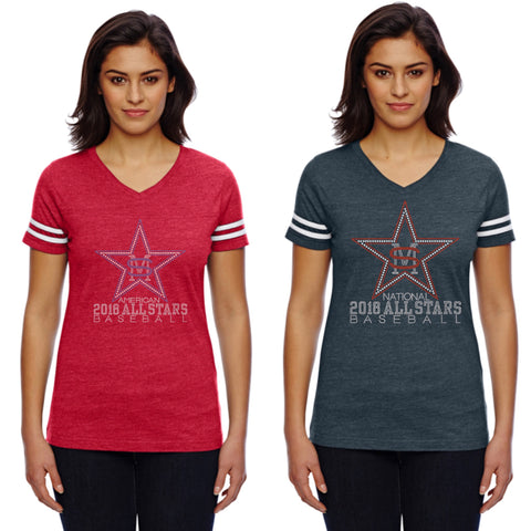 Women's Football V-Neck Fine Jersey Tee-Smas