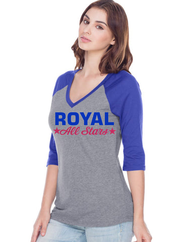 Women Jersey Cntrst V Neck Raglan 3/4 sleeve-royal