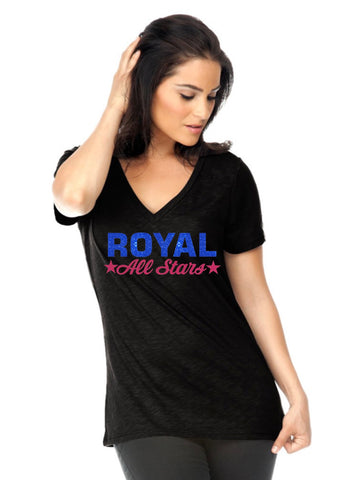 Women's Slub Jersey V Neck-royal