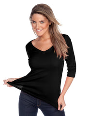Women's V neck 3/4 sleeve top-h