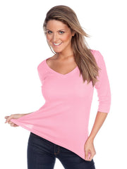 Women's V neck 3/4 sleeve top-BBF