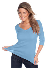 Women's V neck 3/4 sleeve top-EHS