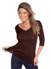 Women's V neck 3/4 sleeve top-TH