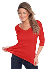 Women's V neck 3/4 sleeve top-sjp
