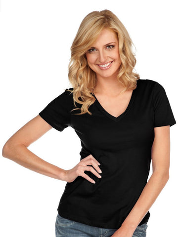 Women & Juniors Jersey Deep V Neck Short Sleeve-sc