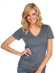 Women & Juniors Jersey Deep V Neck Short Sleeve-LL
