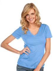 Women & Juniors Jersey Deep V Neck Short Sleeve