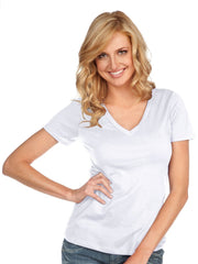 Women & Juniors Jersey Deep V Neck Short Sleeve-EA