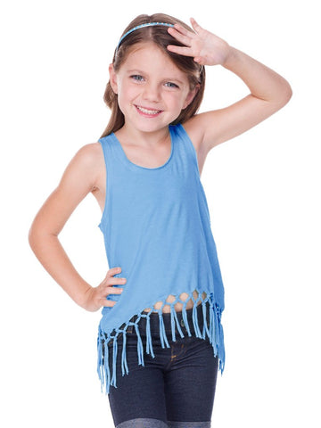 Little Girls Jersey Scoop Neck Macrame Fringe Asymmetrical Tank-sc