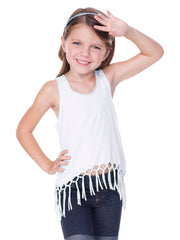 Little Girls Jersey Scoop Neck Macrame Fringe Asymmetrical Tank-H