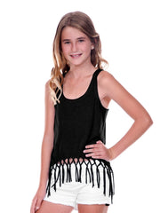 Big Girls Jersey Scoop Neck Macrame Fringe Asymmetrical Tank-f