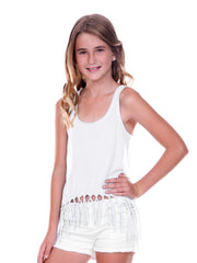 Big Girls Jersey Scoop Neck Macrame Fringe Asymmetrical Tank