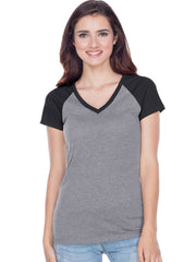 Juniors Sheer Jersey Contrast V Neck Raglan Short Sleeve Tee-BBF