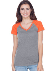 Juniors Sheer Jersey Contrast V Neck Raglan Short Sleeve Tee-h