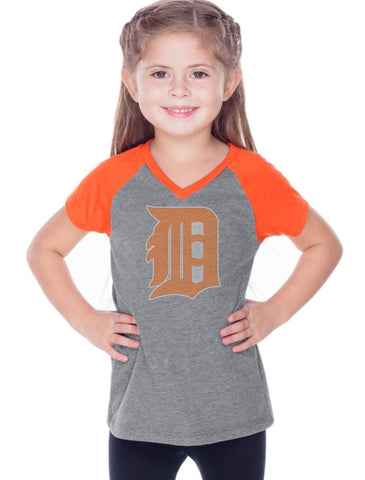 Girls 3-6X & Juniors Sheer Jersey Contrast V Neck Raglan Short Sleeve Tee-BBF