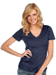 Women & Juniors Jersey Deep V Neck Short Sleeve-h